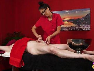 Julia De Lucia massages a lad's cock and makes him nab a pill popper