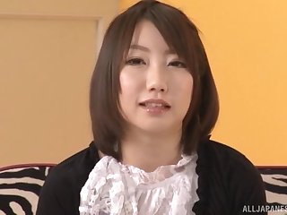 Clothes-horse on touching a stiff cock fucks tight pussy of skinny Chika Sena