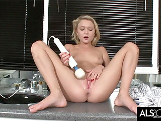 Teeny Blonde Hops On Bathroom Counter round Masturbate