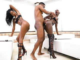 Black women fucked and jizzed with reference to insane threesome