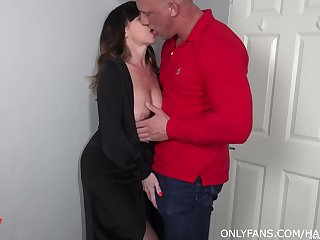 Lad fucks his full-grown aunt and cums inside her shaved hole
