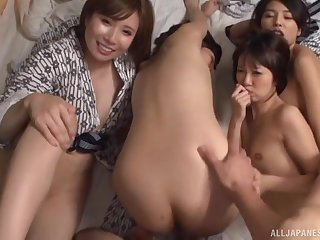 Very lucky guy fucks his girlfriend while her disobedient friends watch