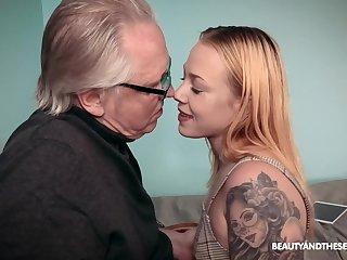 Older man with a stiff dick fucks tattooed cutie Chrystal Sinn