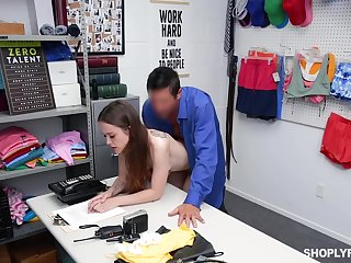 Petite shoplifter gets be transferred to security manager's dick in both holes