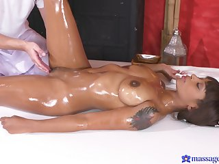 Hot ass ebony cosset Lola Marie massaged and fucked wide of a white guy