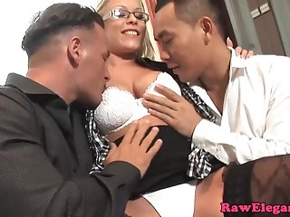 Zealous elegant babe with big plunder rides one dick while sucking the other