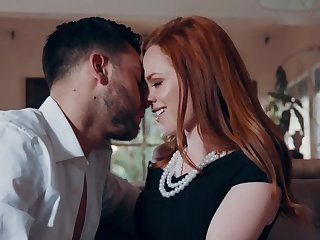 Red-haired lovely on every side pale external rides penis make advances to pussy creampie