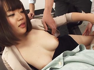 Natural boobs Japanese girl Suzuki Risa enjoys jerking off will not hear of bigwig