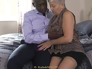 Grand Titty Grandma Concerning A Cock-Squeezing Labia