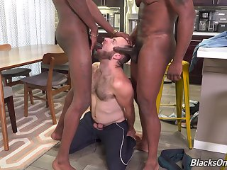 Insane gay porn with the white coxcomb bareback fucked by a couple be useful to black lovers