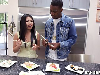 Hardcore interracial fucking there the kitchen with Asian Cindy Starfall
