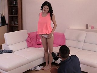 Euro girl gets banged during photoshoot
