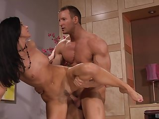 MILF brunette India Summer licks balls and sucks cock