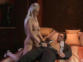 Platinum blonde pornstar Alexis sucks and rides a fat cock