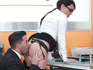 MILF secretary Nick Moreno filed with cum at her bosses office