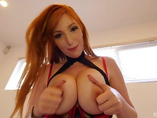 Redhead in silky stockings Lauren Phillips rides while her tits bounce