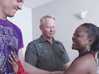 Hardcore interracial MMF threesome with ebony Raylene getting stuffed