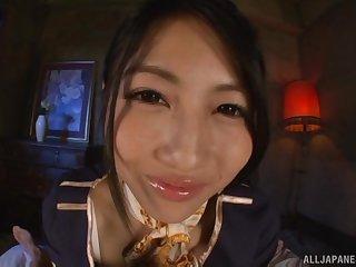 Japanese teen in uniform Saionji Reo makes a cock cum with her feet