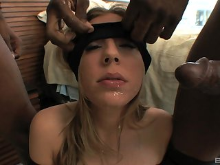 Blindfolded slut Chastity Lynne surprised by two big black cocks