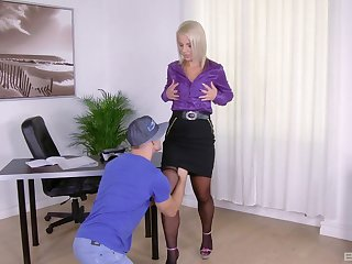 Blonde MILF slut Luci Angel sucks and rides a hard cock at home