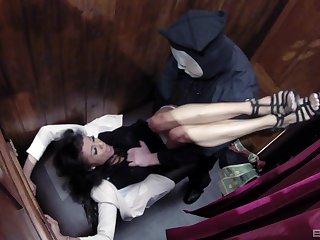 Alyssa Divine gets cum on her perfect tits in church