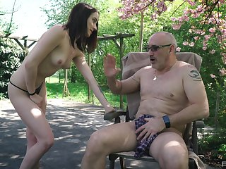 Charlotte Jonhson seduces an older guy at the park and rides his cock