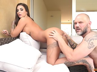 Tattooed Latina Susy Gala fucked doggy style by a big fat cock