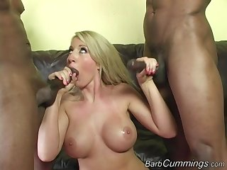Barb Cummings gets two big black cocks and eats their cum