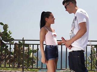 Latina brunette teen Apolonia Lapiedra swallows cum outdoors