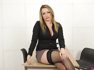 Sexy secretary Penny L gets undecorated and plays up her captivating big boobies