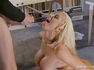 Nicolette Shea gets her shaved pussy pounded by her horny friend