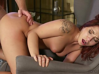 Insane chair fuck here big titted redhead hottie Amy Red. Pt.1
