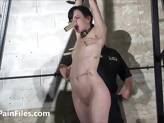 Cruel whipping of slave Elise Graves in dungeon bondage and merciless bdsm punishment of american masochist