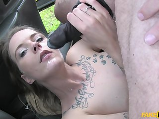Pretty and horny Melody Pleasure gets her pussy fucked close to the car