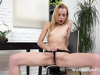 Itty bitty boobs on a solo Euro girl effectuation with toys