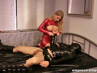 Lady Estelle plays rough with her male slave
