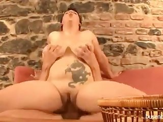 Tremendous titty German milf fucking young chap