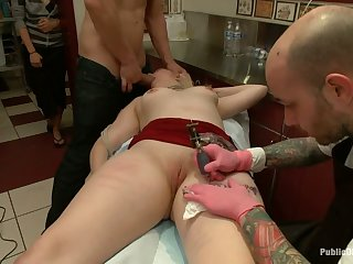 Chunky nuisance babe Alice Frost gets fucked in a tattoo shop