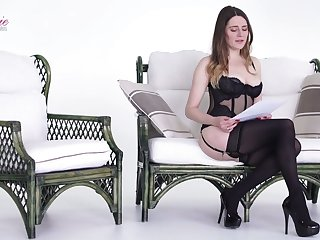 Sex-appeal babe Samantha Bentley is reading XXX untrue  myths in off colour lingerie