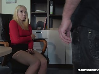 Blonde nympho is caught during reproach and fucked by horny old boss