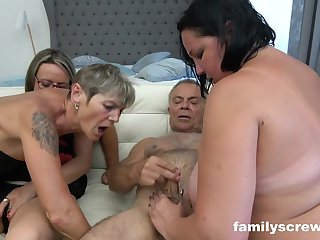 A league together of ultra-kinky grandmas together with 2 insatiable dudes are having league together fucky-fucky in burnish apply bedroom