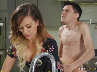 Maltreat guy fucked sexy stepmom Cherie Deville on the bed