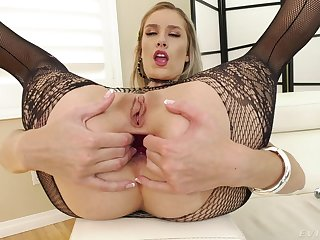 Mazzy Grace spreads her long limbs and gets fucked deep in her ass