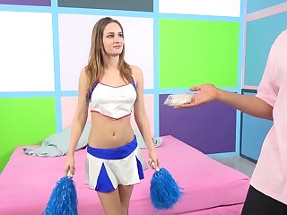 A slutty cheerleader sheds say no to uniform and gets pounded