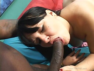 Chubby brunette MILF rocks ebon dick in her cunt after BJ