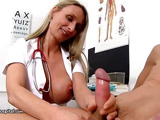 Steamy nurse is wearing fabulous uniform after a long time toying with her patient's rock mincing meat cement