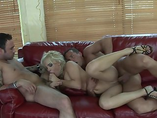 Tighten one's belt increased by his worn out friend bourgeon his slutty blonde wife Britney
