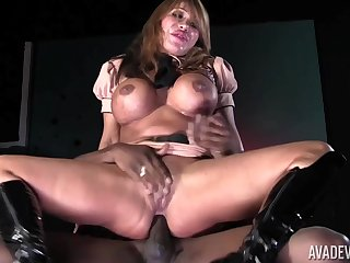 MILF ablaze rides the BBC increased by makes it cum greater than her chest
