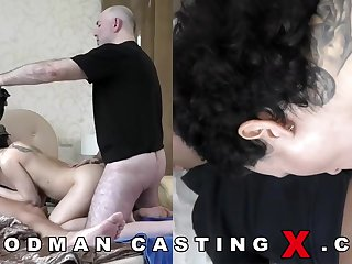 Supreme looking, Russian black-haired with huge, rigid boobies went to a porno flick audition to have joy