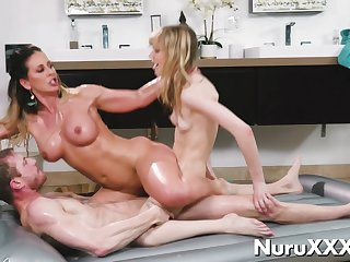 Oil Nuru Threesome Massage with young funereal coupled with blonde aj applegate
